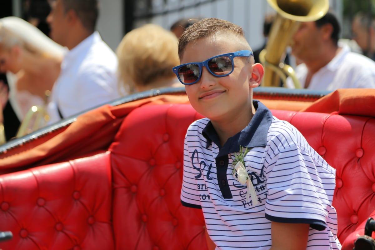boy, smiling, ceremony, sunglasses, face, portrait, people, seat, man, child