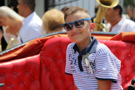 boy, smiling, ceremony, sunglasses, face, portrait, people, seat, man, child