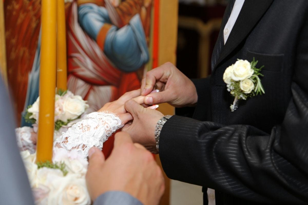 Hochzeit, Ehering, Ringe, Hände, romantische, Liebe, Bräutigam, Blumenstrauß, verheiratet, Kleid