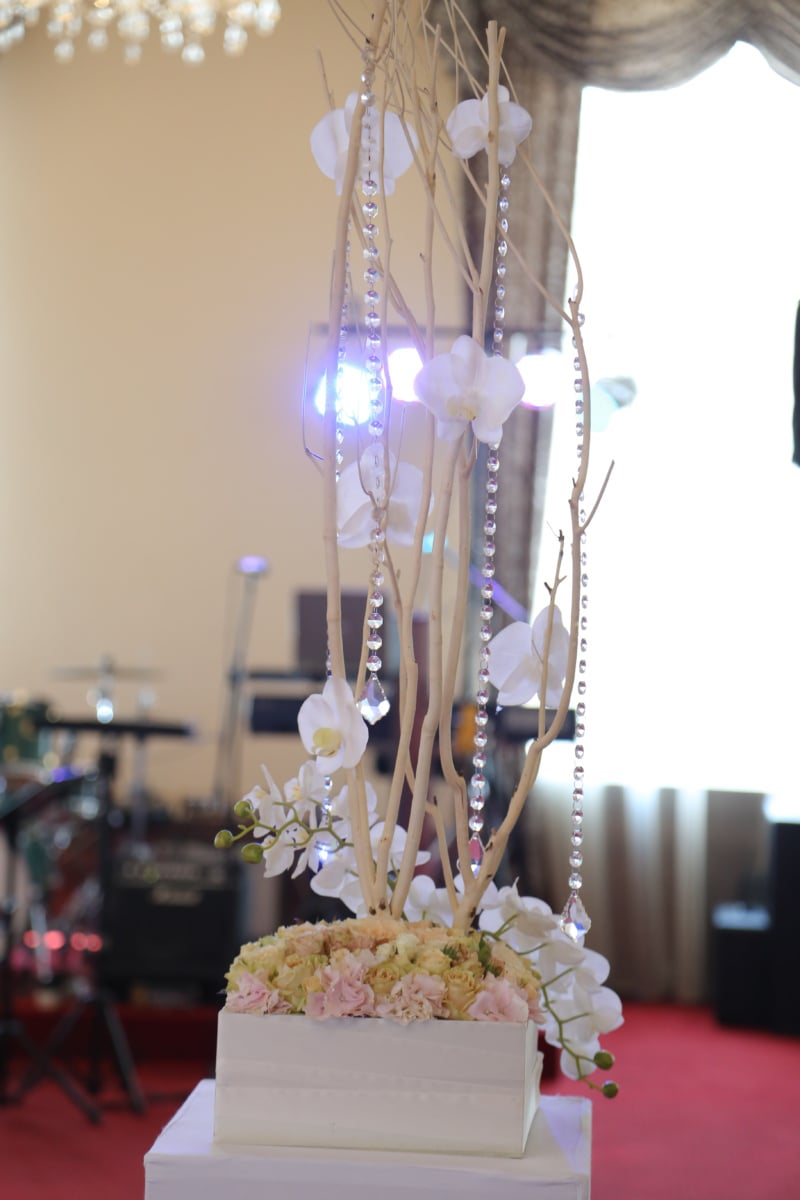 crystal, decoration, white flower, orchid, interior decoration, elegant, luxury, glass, party, drink