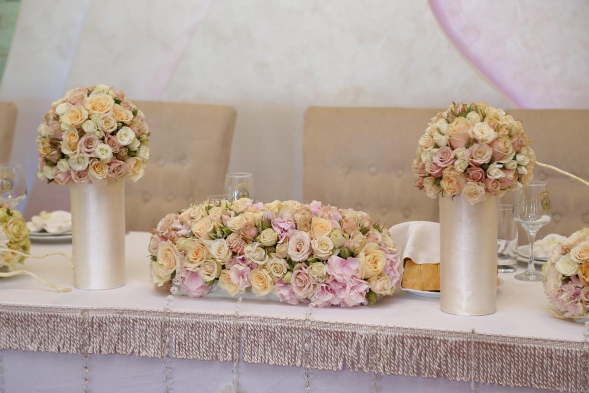 nappe, mariage, table, vase, bouquet, soie, élégance, décoration, fleur, nature morte