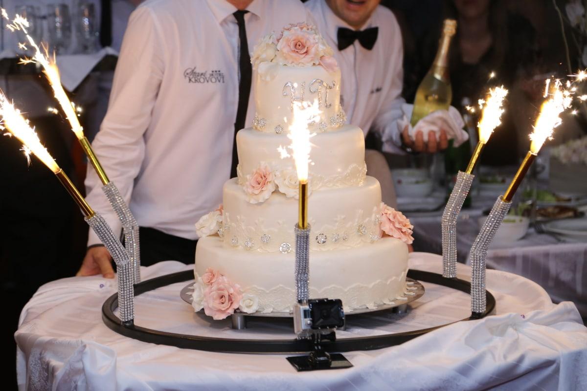 wedding cake, ceremony, bartender, celebration, white wine, champagne, candle, couple, bride, wedding