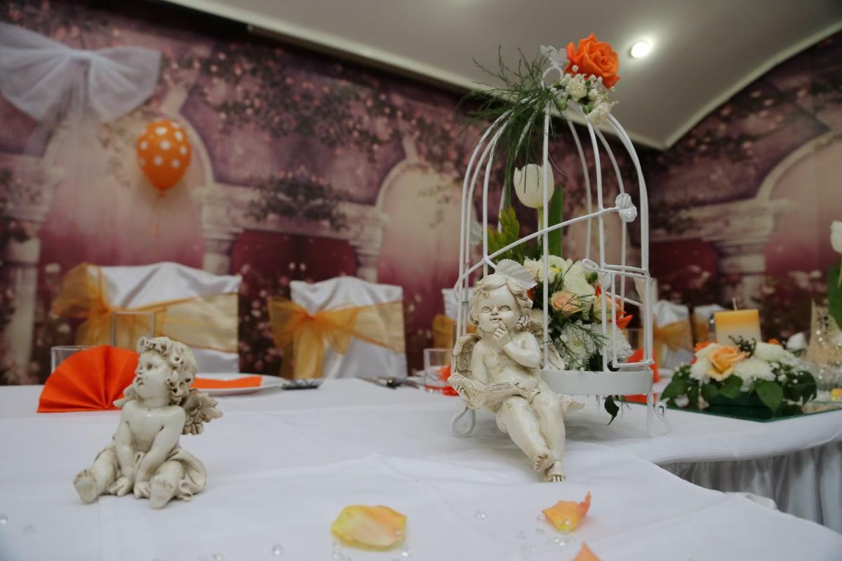 Ange, Figurine, décoration, céramique, salle à manger, bouquet, jeune marié, célébration, mariage, période de vacances