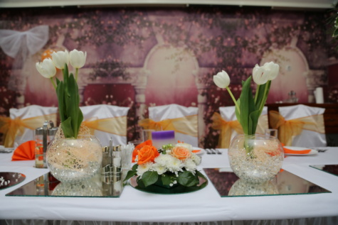 tulips, table, furniture, banquet, mirror, decorative, bouquet, food, dinner, vegetable