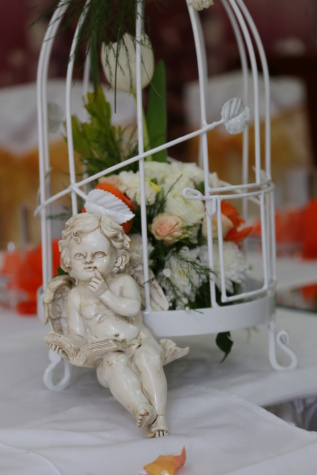 angel, cage, romantic, figurine, symbol, decoration, wings, lunch, indoors, traditional