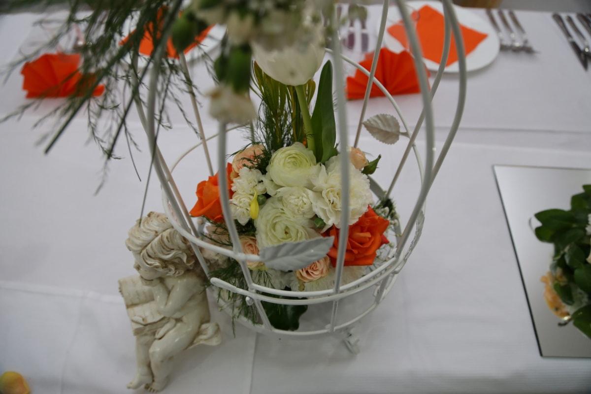 Porzellan, Figurin, Engel, Hochzeit, Glas, Blumenstrauß, Blume, Dekoration, stieg, Still-Leben