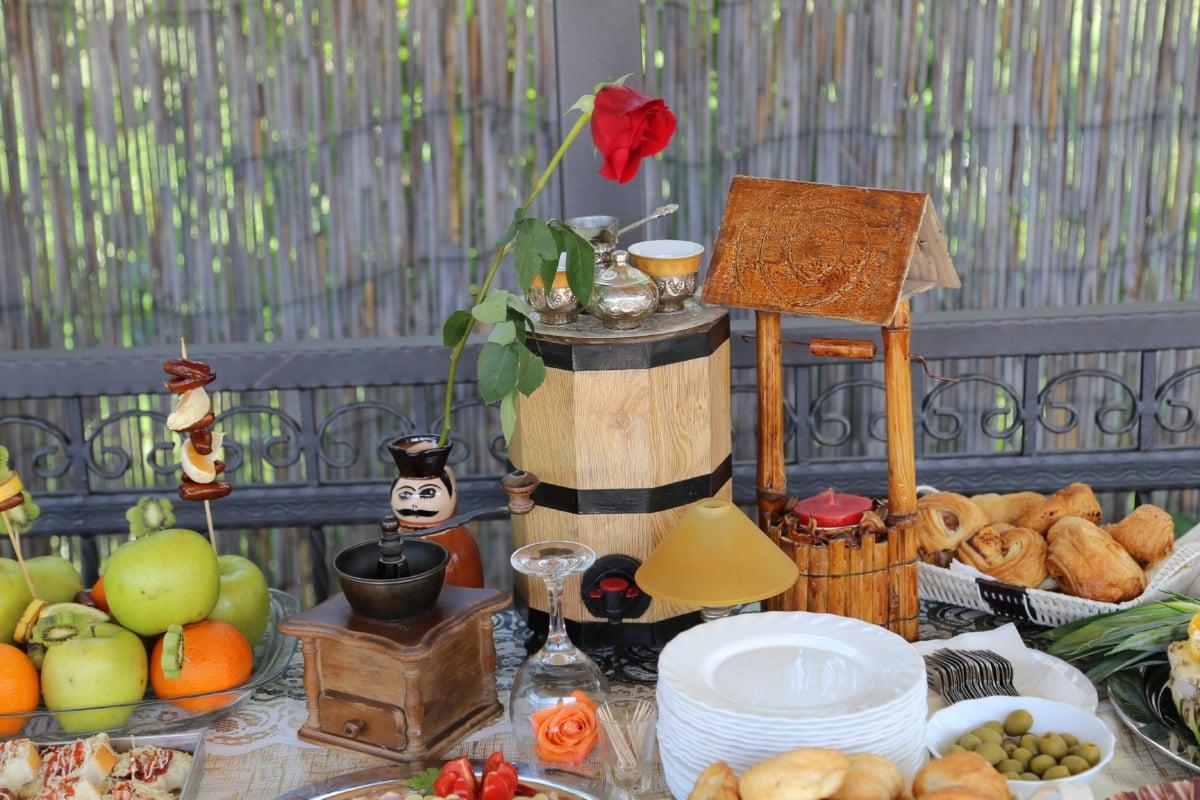 buffet, ecotourism, village, food, handmade, homemade, baked goods, table, apple, tableware