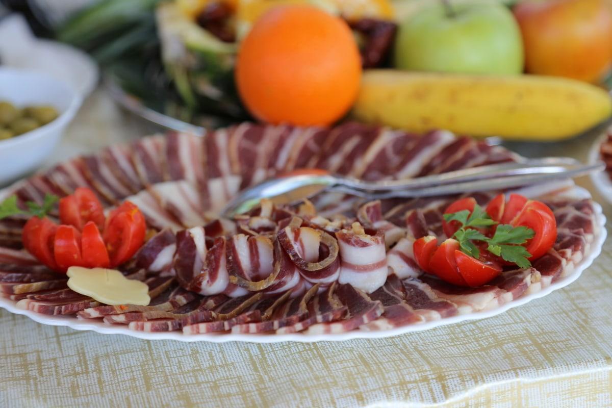beacon, pork loin, pork, breakfast, buffet, fruit, meal, meat, dinner, restaurant