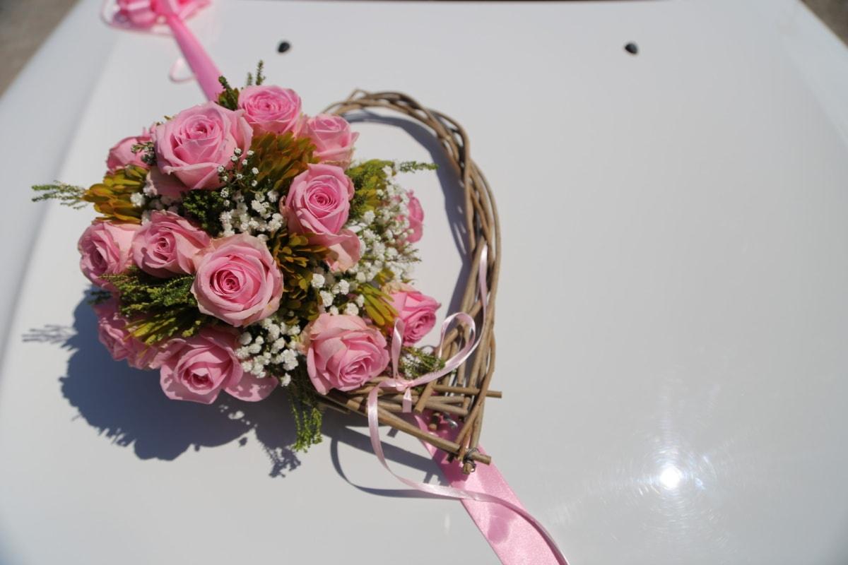 roses, handmade, pinkish, heart, romantic, Valentine's day, rose, bouquet, flower, love
