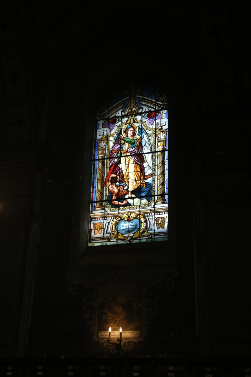 verre souillé, fenêtre, ténèbres, Christianisme, art, Saint, Église, religion, religieux, architecture