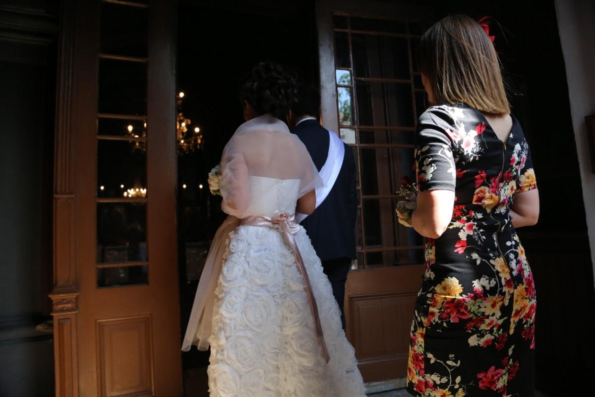 mariage, Église, porte d'entrée, robe de mariée, entrée, robe, jupe, vêtement, mode, la mariée