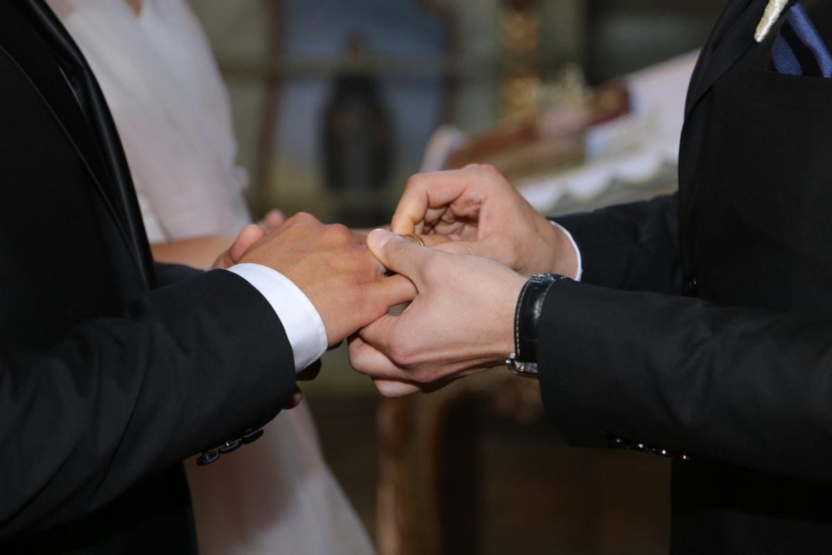 Männer, Zeremonie, Ehe, Hochzeit, Partner, Mann, Bräutigam, Menschen, Geschäft, drinnen