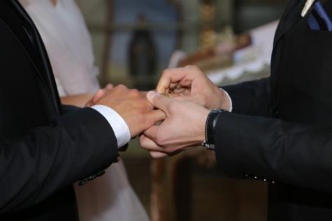 Hommes, cérémonie, mariage, mariage, partenaires, homme, jeune marié, gens, entreprise, à l'intérieur