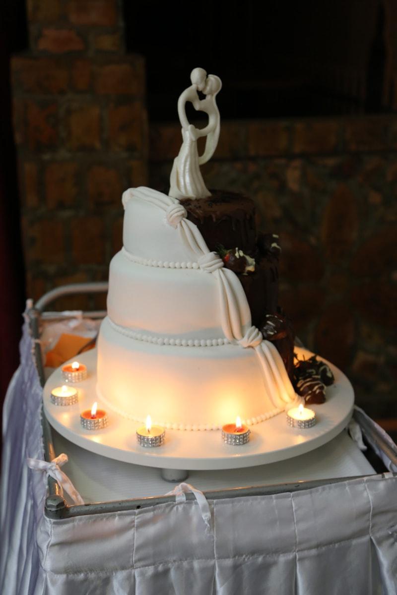 elegant, Hochzeitstorte, Kerzen, Candle-Light, Zeremonie, Kerze, Hochzeit, Interieur-design, Luxus, Empfang