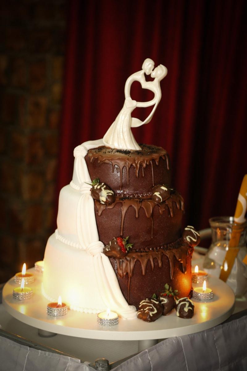 romántica, velas, pastel de boda, pastel de chocolate, vela, lujo, chocolate, celebración, boda, diseño de interiores