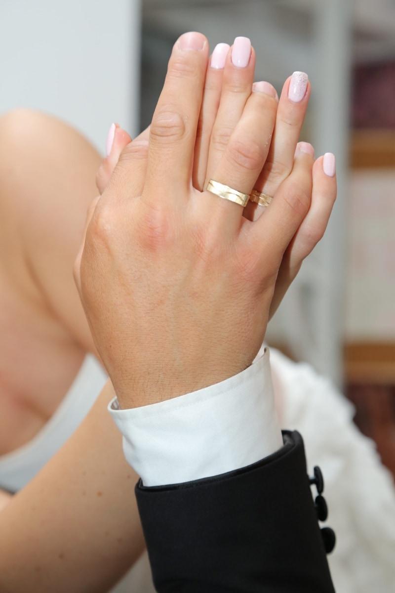 wedding ring, gold, marriage, hands, finger, love, manicure, romantic, together, togetherness