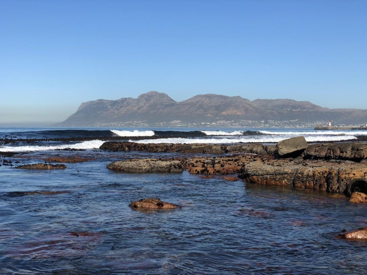 grote rotsen, kustlijn, getijde water, zee, water, oceaan, rots, strand, kust, landschap