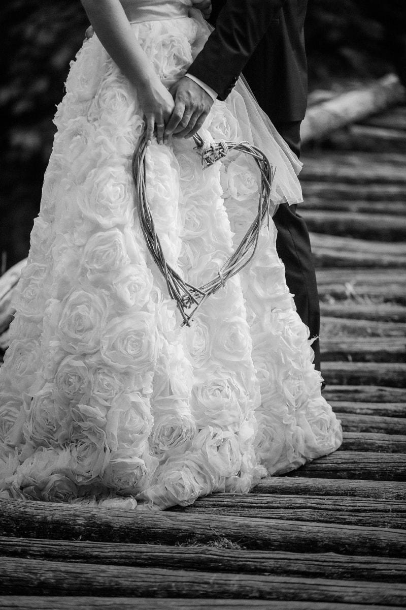 coeur, amour, romantique, la mariée, robe de mariée, mariage, mains, robe, Portrait, jeune fille