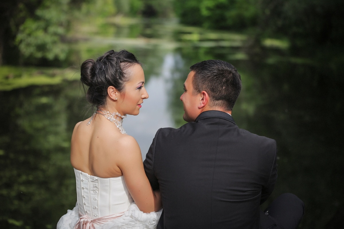 mari, affection, femme, câlin, amour, Collier, épaule, Darling, jeune marié, heureux