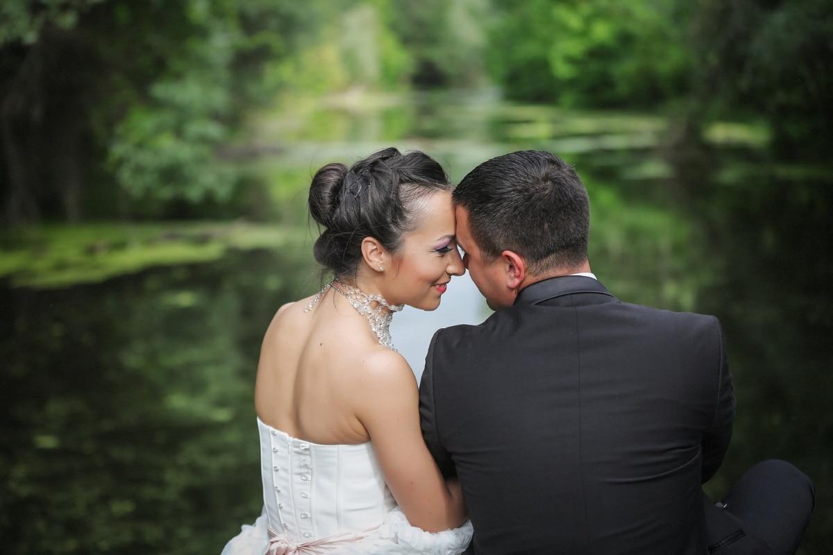 husband, hugging, kiss, wife, happiness, smile, embrace, enjoyment, wedding, engagement