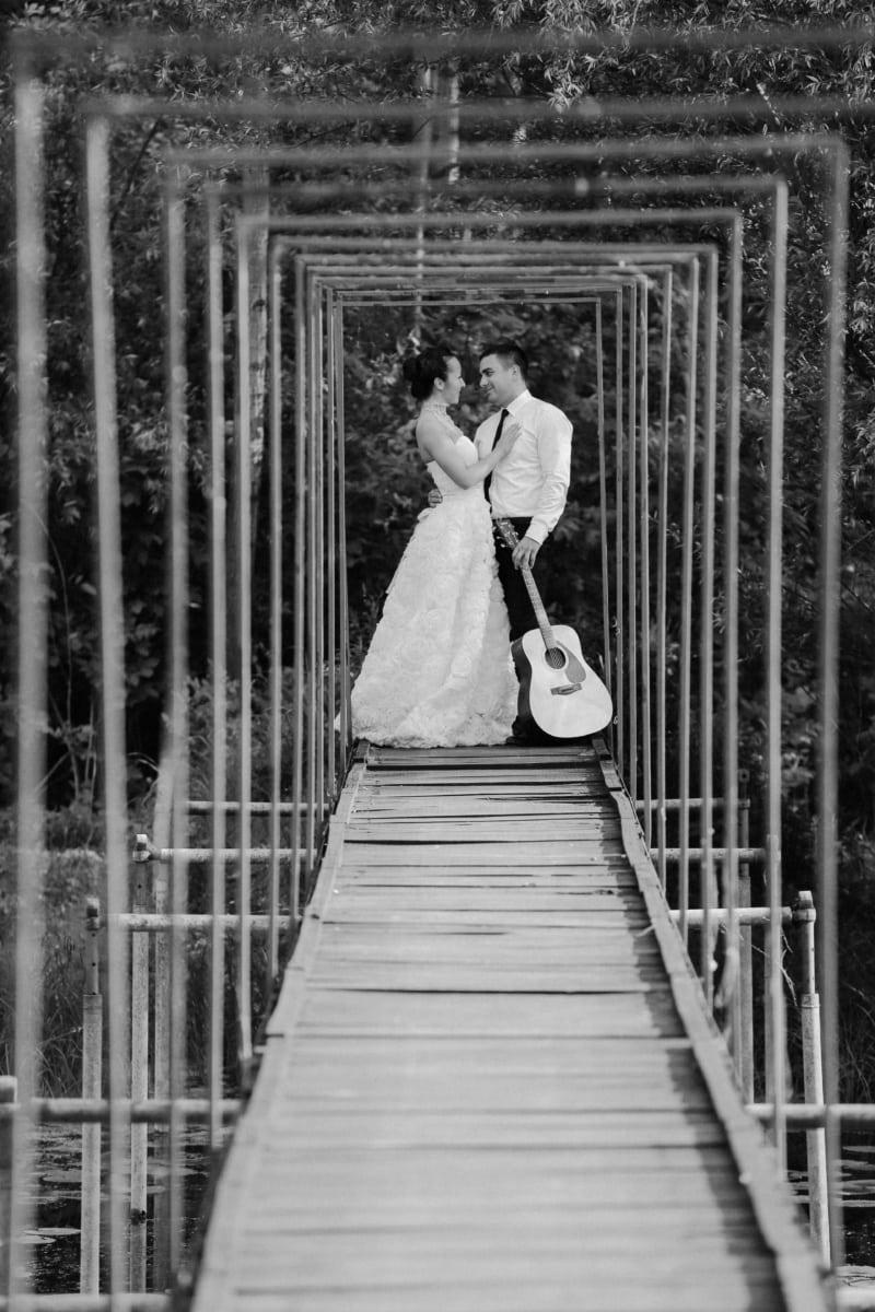 groom, bride, guitarist, guitar, musician, people, man, woman, wedding, step