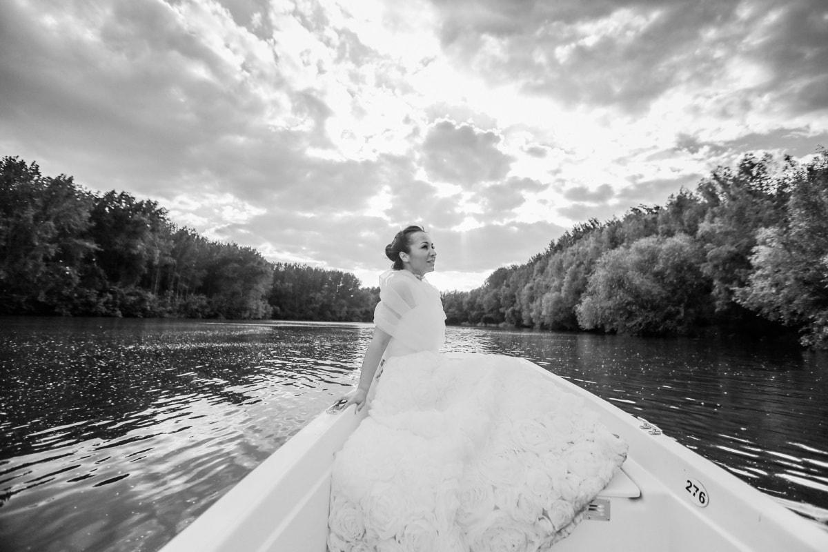 wedding dress, bride, boat, lake, wedding, water, river, monochrome, nature, outdoors