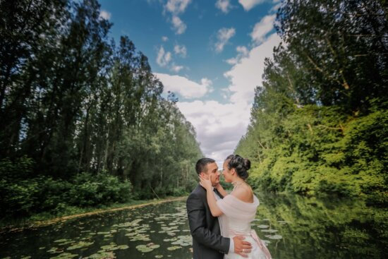 hugging, groom, kiss, bride, forest, river, nature, woman, love, romance