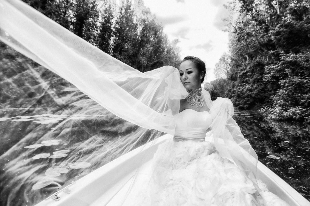 wedding dress, veil, pretty girl, gorgeous, nature, wind, wedding, bride, marriage, love