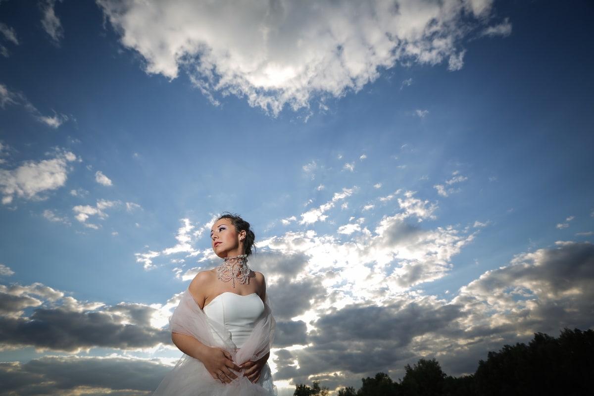 아름 다운, 신부, 전문, 사진 모델, 신뢰, 보석, 웨딩 드레스, 목걸이, 일몰, 웨딩