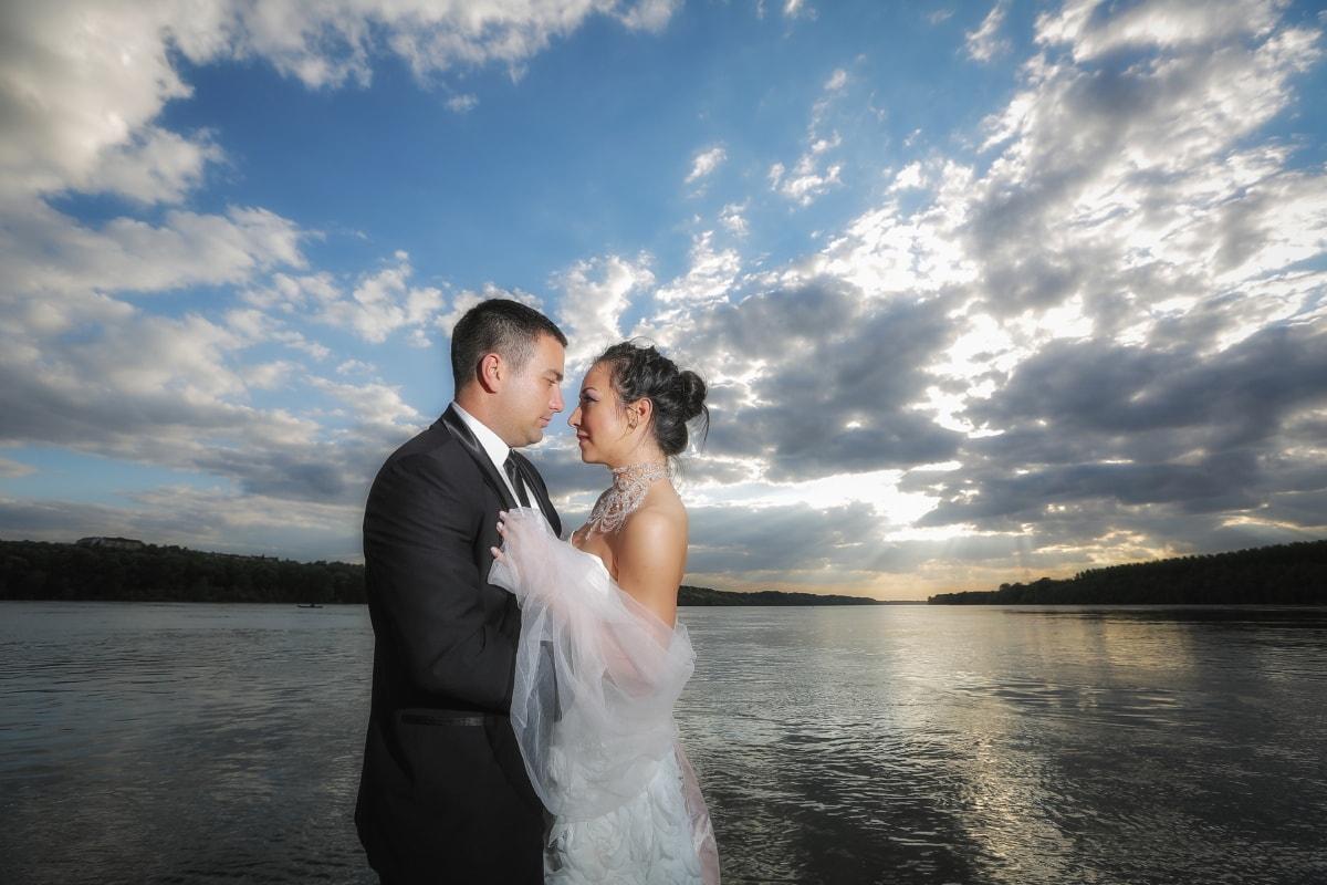 Hochzeitskleid, Bräutigam, Braut, Horizont, Wasser, Sonnenuntergang, Zuneigung, paar, Kleid, Liebe