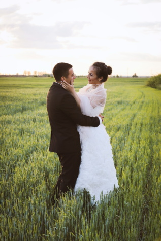togetherness, affection, love, wheatfield, joy, man, bride, wedding dress, countryside, rice