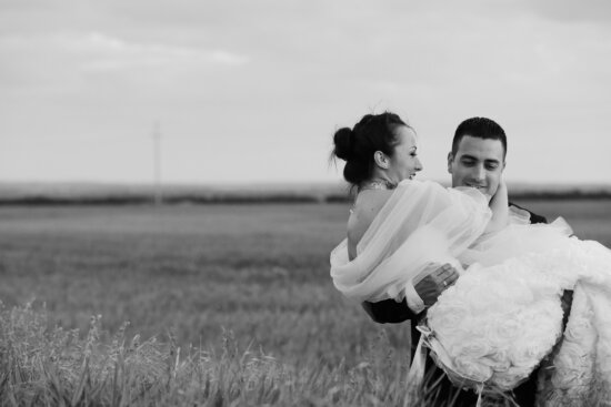 groom, bride, hold, agriculture, field, smile, wedding dress, happy, people, summer