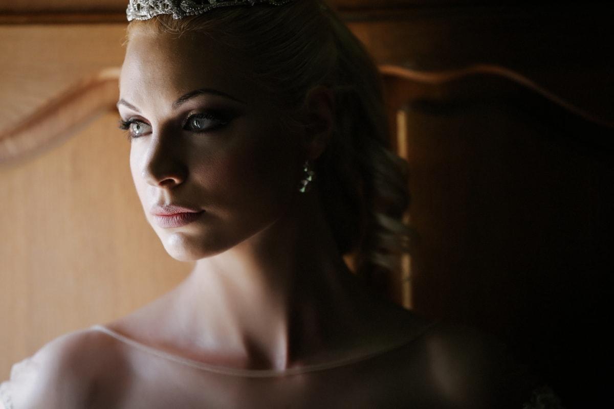 prinsesse, pen jente, glamour, kvinne, søt, smykker, hår, ansikt, stående, modell