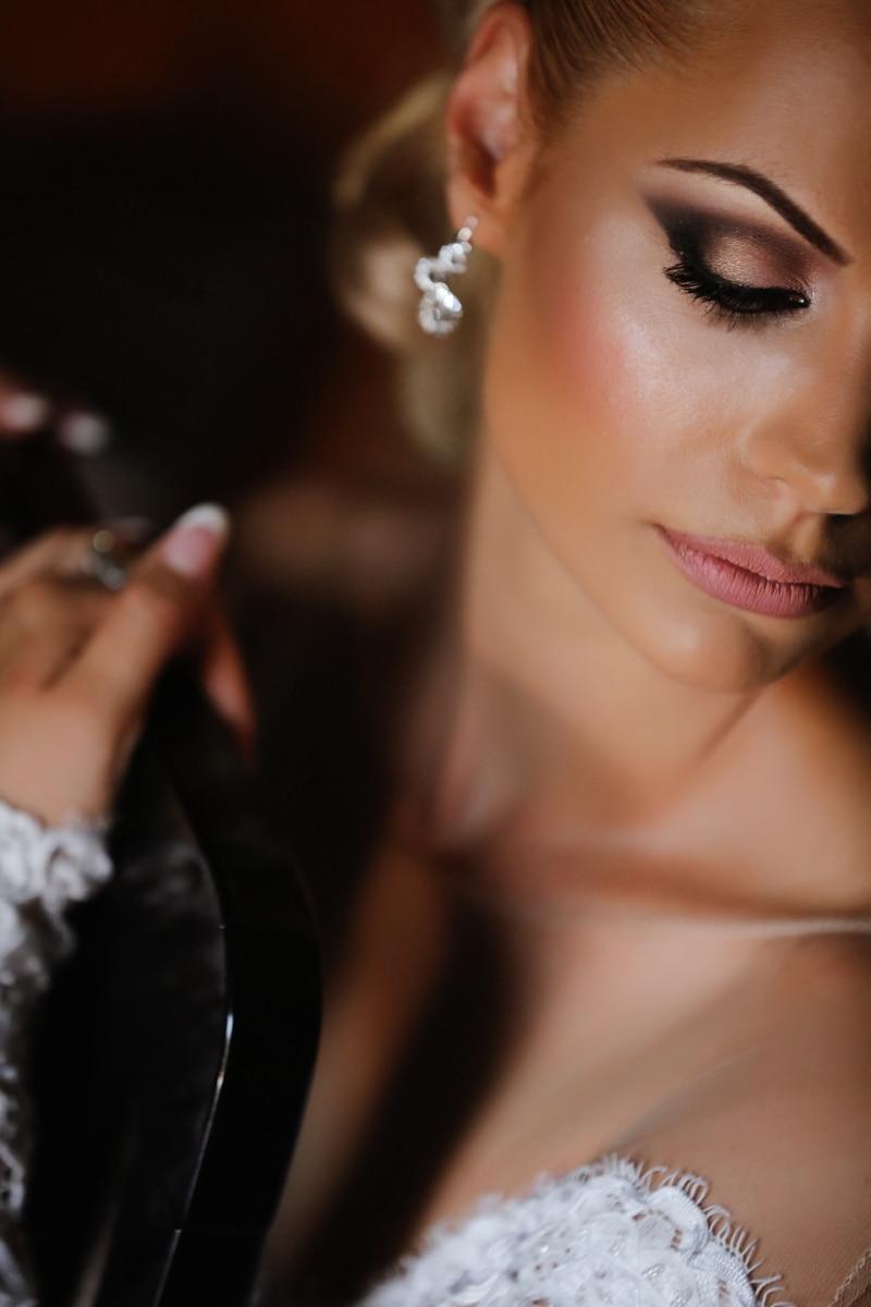 herrlich, hübsches mädchen, Haut, Lippen, Wimpern, Gesicht, Schulter, Make-up, ziemlich, attraktiv