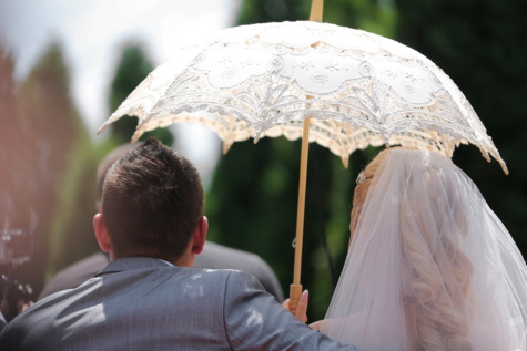 sunshine, umbrella, wedding, wedding dress, veil, sunny, bride, groom, arm, beautiful