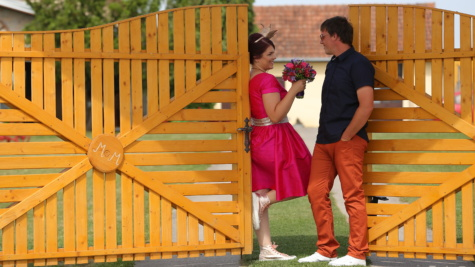 bouquet, boyfriend, girlfriend, entrance, gate, gift, romance, love, affection, outdoors