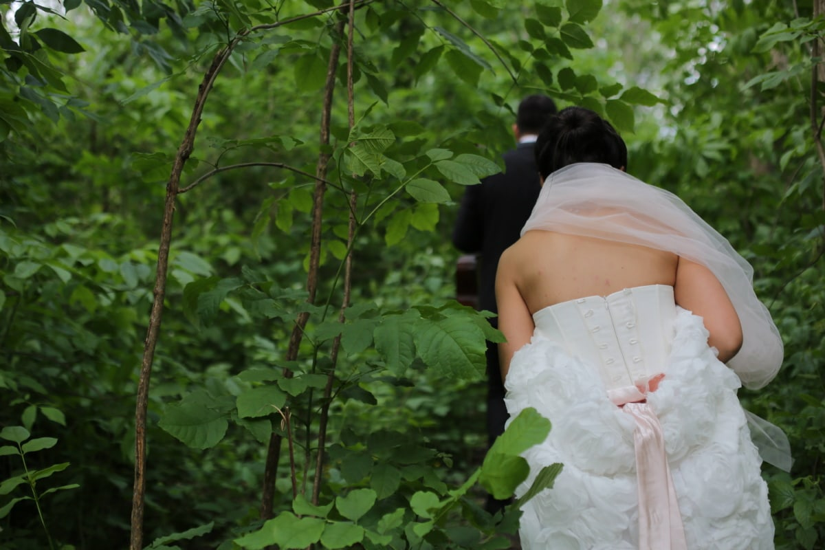 bride, forest, forest trail, wedding dress, veil, groom, wedding, dress, happiness, love
