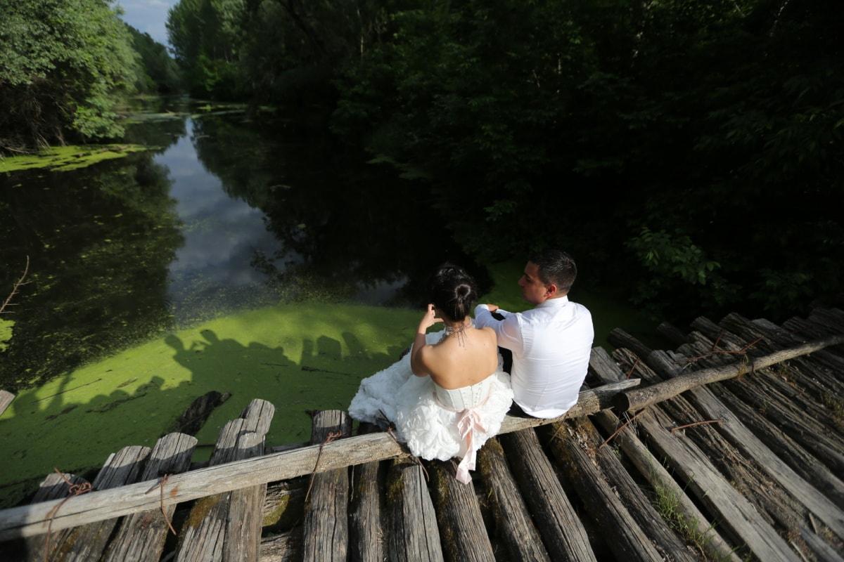 bride, wedding dress, groom, wilderness, nature, relaxation, wooden, bridge, love, wood