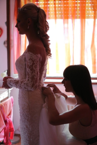 wedding dress, bride, girlfriend, helping, attractive, pretty, fashion, lady, portrait, model