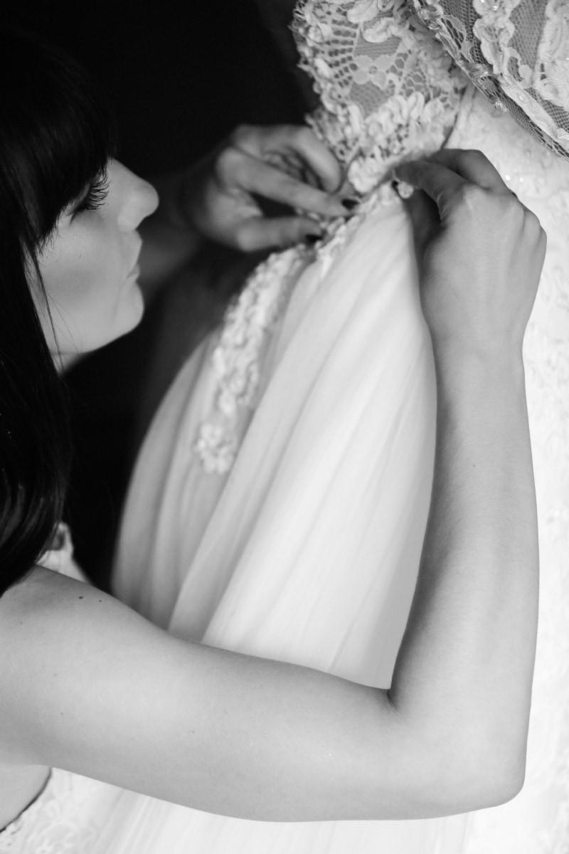 mode, robe de mariée, fait main, mains, femmes, noir, noir et blanc, cils, visage, doigt