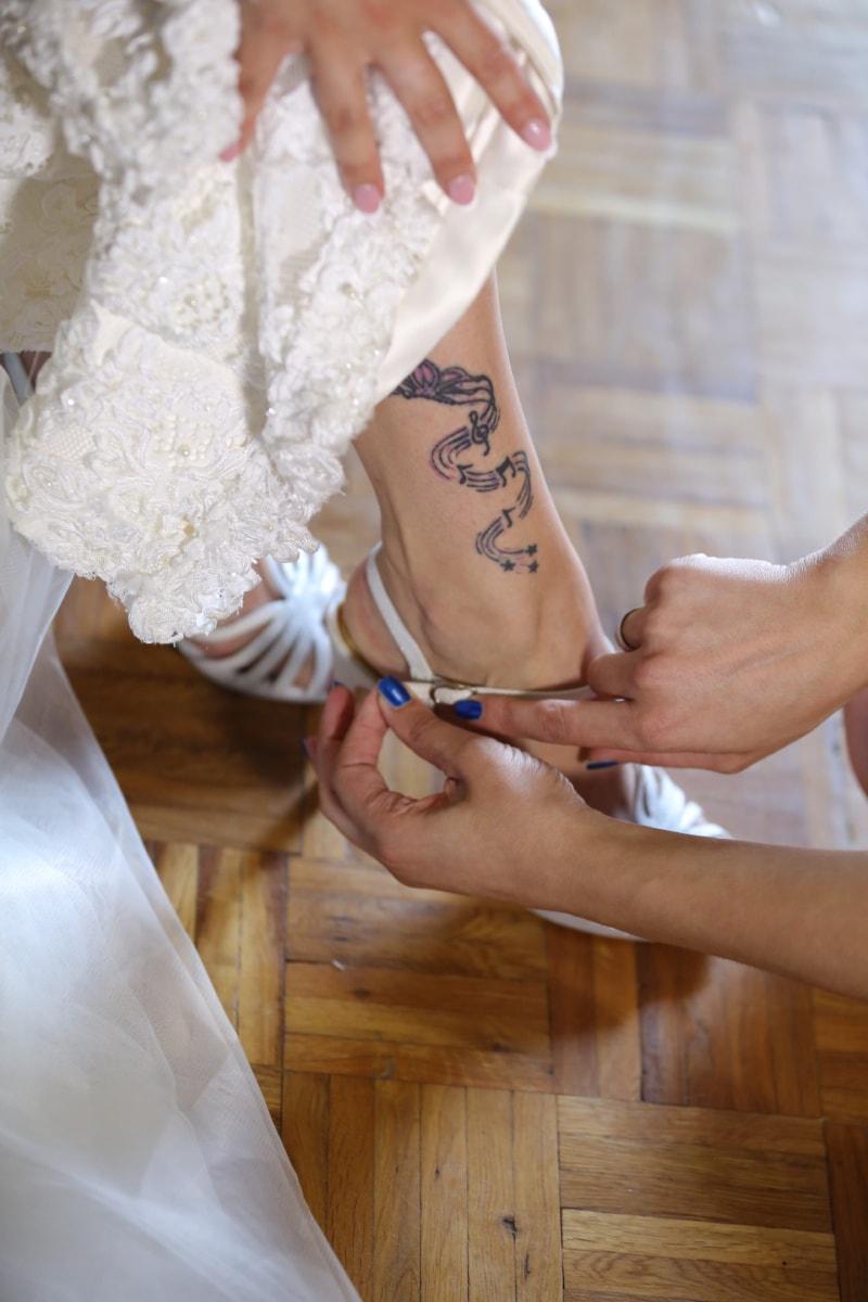 musical, tatouage, sandale, peau, vêtements, la mariée, mariage, robe, personne, amour