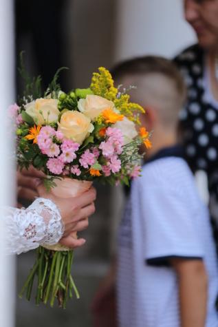 bouquet de mariage, mariage, mains, la mariée, garçon, gens, enfant, amour, fleur, bouquet