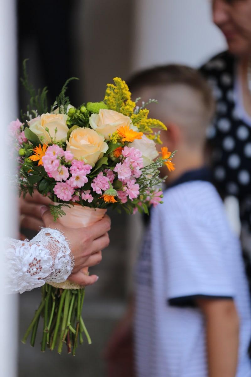 wedding bouquet, wedding, hands, bride, boy, people, child, love, flower, bouquet
