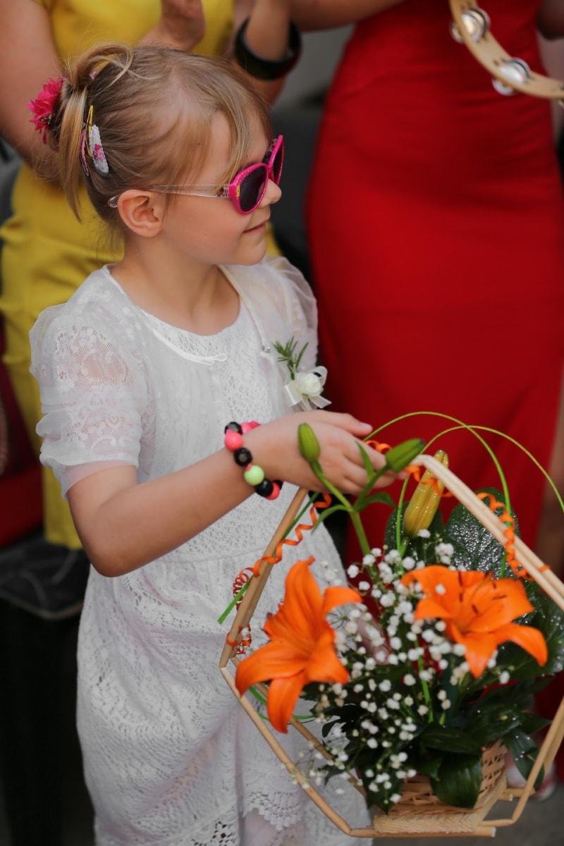 pretty, pretty girl, flowers, wicker basket, arrangement, music, event, flower, people, girl