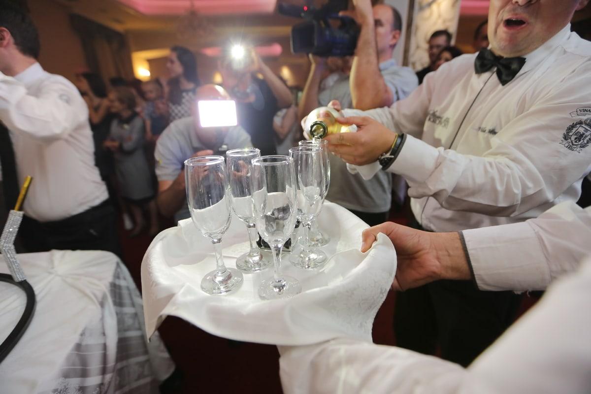 barman, parti, bouteille, célébration, Champagne, restaurant, table, dîner, vin, verre