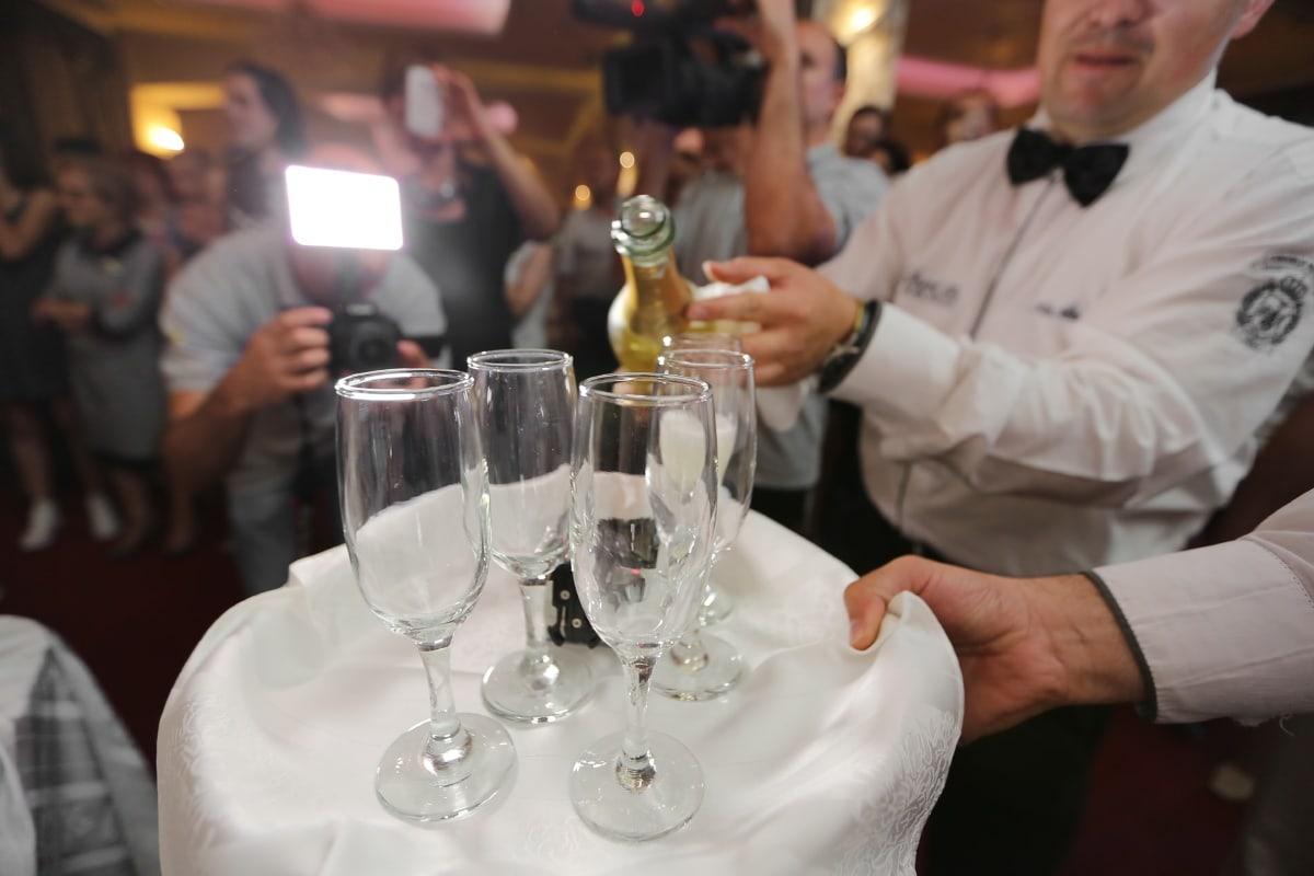 célébration, cérémonie, Champagne, vin blanc, barman, parti, verre, boisson, mariage, restaurant