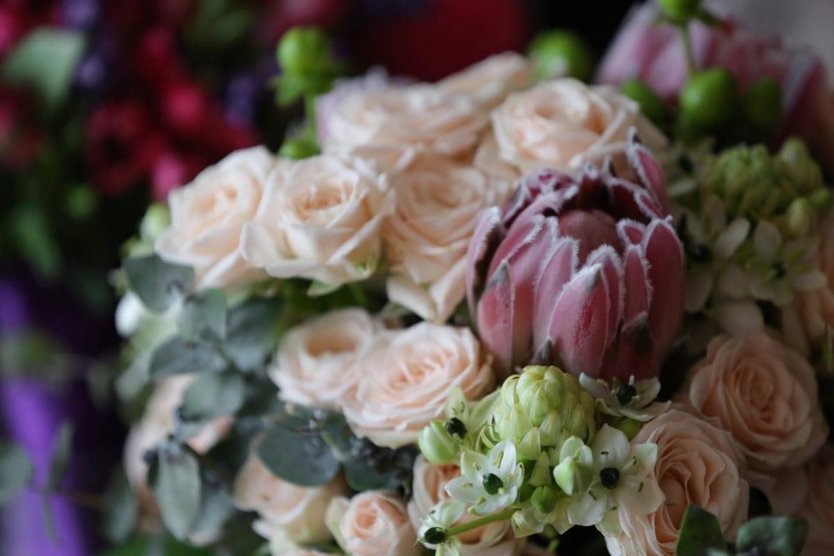 Pastell, Rosa, Blumenstrauß, Anordnung, Rosen, handgefertigte, Hochzeit, Blume, Liebe, Braut
