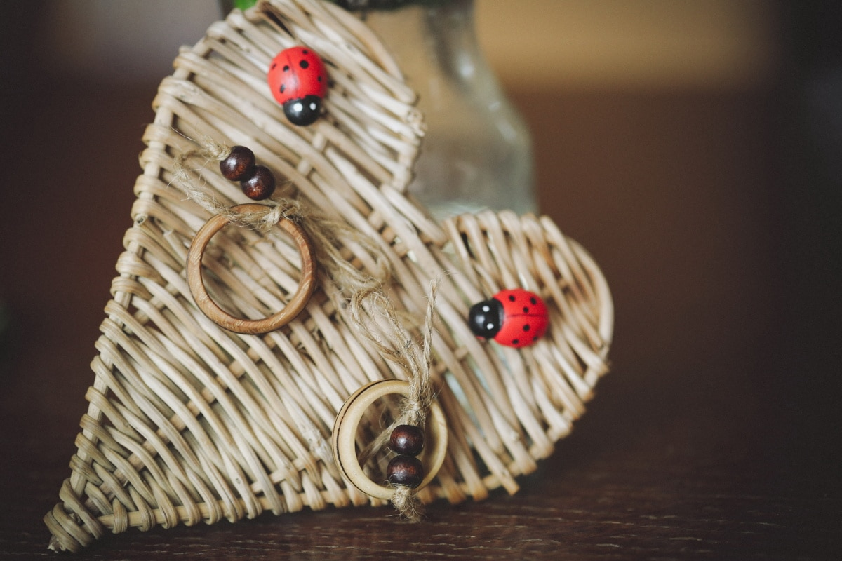 love, handmade, gift, heart, wooden, ladybug, rings, wood, traditional, still life