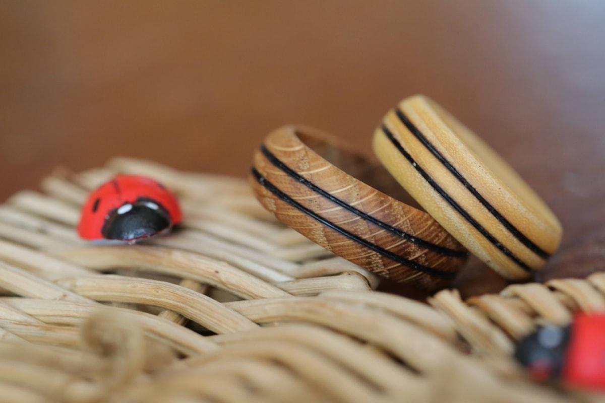 Ehering, aus Holz, Ringe, Hartholz, traditionelle, handgefertigte, Still-Leben, verwischen, Zen, hausgemachte