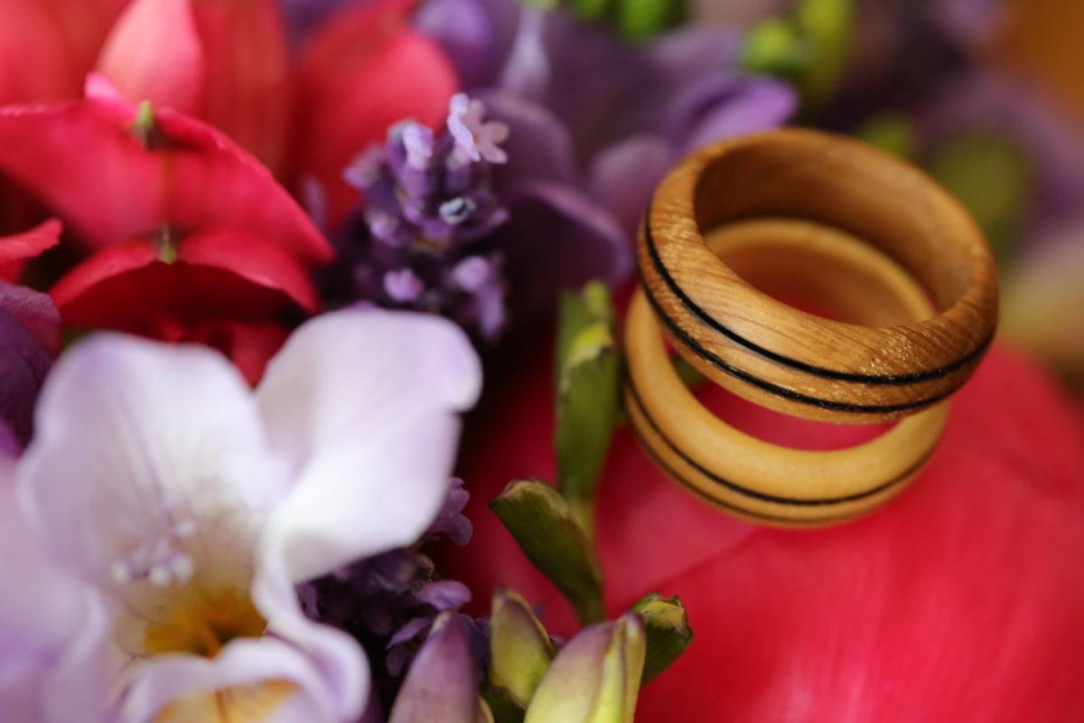 rings, wooden, details, handmade, romance, pink, petal, flowers, nature, flower